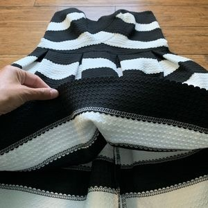 Sans Souci Dresses - Black and White Striped Strapless Dress